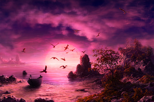Seagull Birds Boat Landscape Purple Sunset Wallpaper