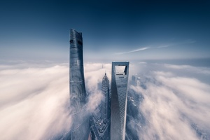 Shanghai Skyscraper Fog Clouds Wallpaper