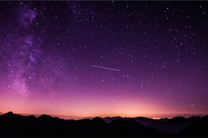 Shooting Stars In Purple Sky