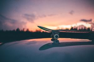 Skateboarding Sunset Macro 5k Wallpaper