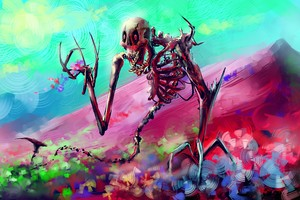 Skelton Skull Colorful Digital Art Wallpaper