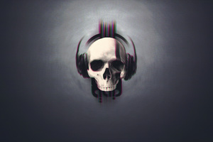 Skull Glitch Art Wallpaper