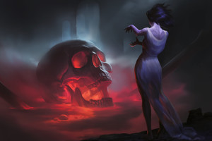 Skull Women Fantasy Witch Wallpaper