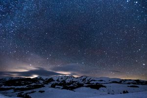 Sky Full Of Stars Snowy Mountains 5k Wallpaper