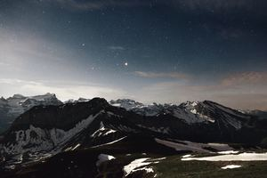 Sky Star Night Snow Mountains Range 5k Wallpaper