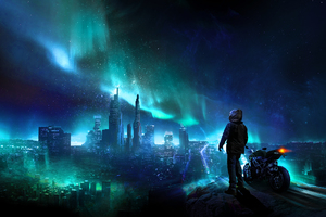 Skylines Biker Blue City Photomanipulation