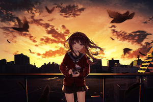 Smiling Anime Girl Taking Photographs Cityscape 4k Wallpaper