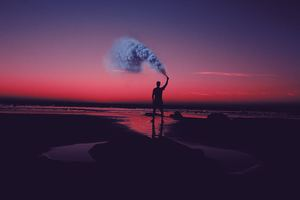 Smoke Bomb Person Dark Beach 5k Wallpaper