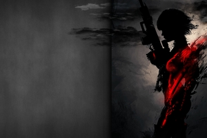Sniper Artwork Dark Red 4k