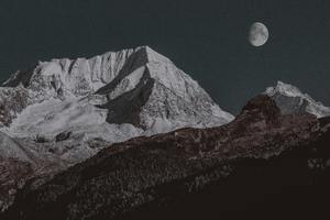 Snow Covered Mountain Moon 4k