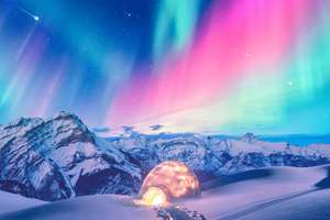 Snow Winter Iceland Aurora Northern Lights Wallpaper