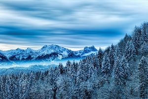 Snow Winter Nature Cloud Mountains Wallpaper