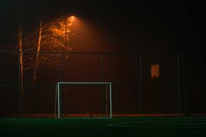 Soccer Goal Net Dark Field Photography 4k