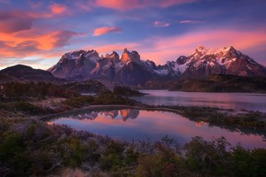 South America Patagonia Andes Mountains Lake