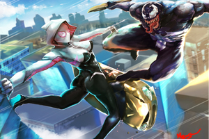 Spider Gwen And Venom Art Wallpaper