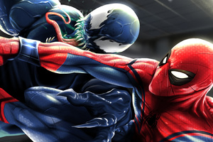 Spiderman And Venom Art Wallpaper