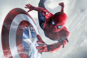 Spiderman Catching Captain America Shield