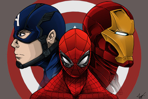 Spiderman Iron Man Captain America Artwork