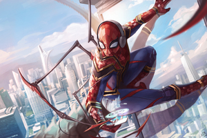 Spiderman Iron Suit Art 5k Wallpaper