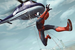 Spiderman Jumping Out Of Helicopter Wallpaper