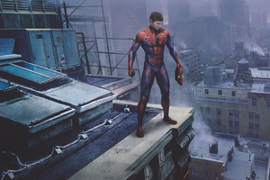Spiderman Peter Parker Standing On A Rooftop