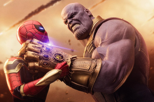 Spiderman Thanos Avengers Infinity War Wallpaper