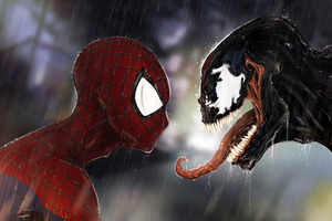 Spiderman Vs Venom Digital Artwork