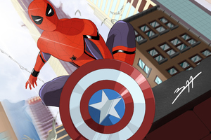 Spiderman With Captain America Shield Art Wallpaper