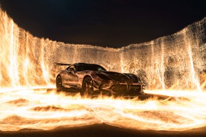Sports Car On Fire Wallpaper
