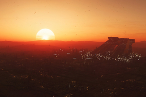 Star Citizen Sunset In Hurston Planet Wallpaper