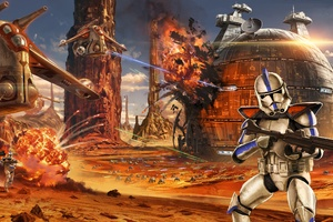 Star Wars Artwork Geonosis Clone Trooper Wallpaper