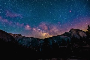 Stars Space Landscape Mountains Wallpaper