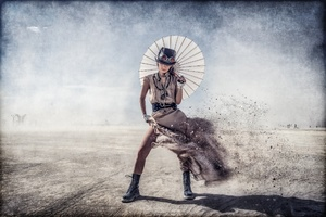 Steampunk Umbrella Woman Wallpaper
