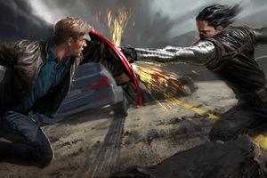 Steve Rogers And Winter Solider Artwork Wallpaper