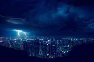 Storm Night Lightning In City 4k Wallpaper
