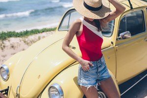 Summer Girl With Yellow Car Hat