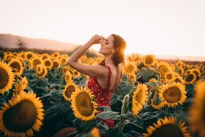 Sunflowers Field Dress Women 4k Wallpaper