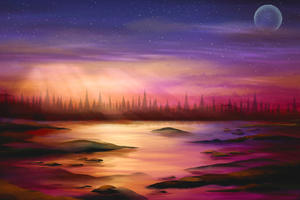 Sunset Drawing Painting Wallpaper