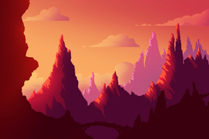 Sunset Journey Landscape Wallpaper