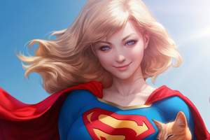 Supergirl Cute Art Wallpaper