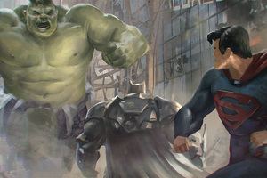Superman And Batman Vs Hulk Artwork Wallpaper
