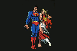 Superman And Supergirl Minimalism Artwork Wallpaper
