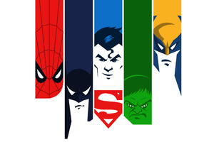 Superman Batman Hulk Spiderman Wolverine 4k Minimalism Wallpaper