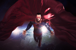 Superman In The Space Red Cape Flying Artwork 8k Wallpaper