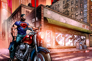 Superman On A Motorcycle Wallpaper