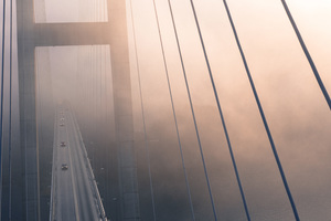Suspension Bridge View From Top Evening Fog 4k Wallpaper