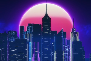 Synthwave City Retro Neon 4k