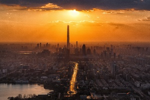 Tall Buildings Tower Sun In Clouds Lake Cityscape 8k Wallpaper