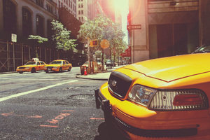 Taxi Cab New York City Street Vehicles Wallpaper