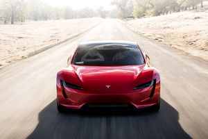 Tesla Roadster Front Look Wallpaper